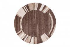 SARI Teppich Rund Dunkelbraun Modern Streifen Bordüre