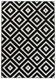 MAROKO Teppich Kurzflor Modern Marokkanisch Karo Schwarz Creme