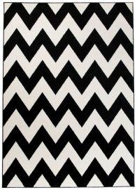 MAROKO Teppich Modern Kurzflor Geometrisch Zick Zack Schwarz Creme
