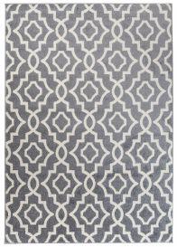 MAROKO Area Rug Modern Short Pile Geometric Mosaic Grey Cream
