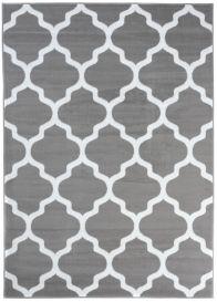 Luxury Teppich Kurzflor Modern Marokkanisch Gitter Hellgrau Weiß