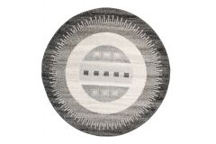 SARI Teppich Rund Grau Creme Schwarz Modern Streifen