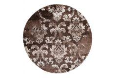 SARI Teppich Rund Braun Floral Vintage Design Meliert