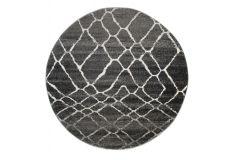 SARI Teppich Rund Schwarz Grau Modern Netz Meliert Design