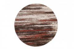 SARI Teppich Rund Beige Braun Rot Modern Design Meliert