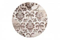 SARI Teppich Rund Creme Braun Floral Blumen Design