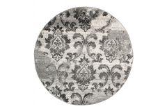 SARI Teppich Rund Creme Grau Floral Vintage Modern Design