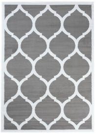Luxury Teppich Kurzflor Marokkanisch Gitter Hellgrau Weiß