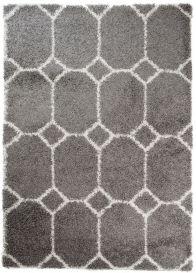 RIO Teppich Shaggy Hochflor Geometrisch Fliesen Design Dunkelgrau