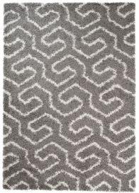 RIO Teppich Shaggy Hochflor Dunkelgrau Geometrisch Design