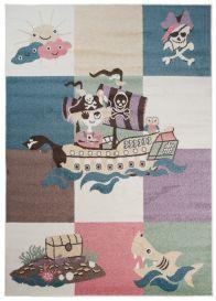 HAPPY Teppich Kurzflor Modern Kinderteppich Creme Bunt Piraten