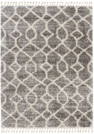 VERSAY FRINGES Boho Shaggy Area Rug Geometric Dark Grey