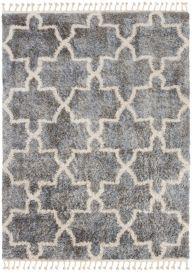 VERSAY FRINGES Shaggy Area Rug Moroccan Trellis Dark Grey