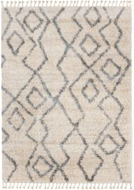 VERSAY FRINGES Shaggy Area Rug Diamond ZigZag Cream