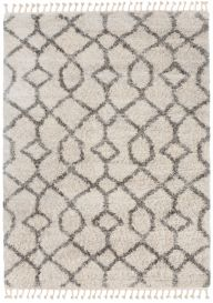 VERSAY FRINGES Boho Shaggy Area Rug Geometric Cream