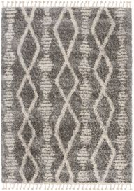 VERSAY FRINGES Boho Shaggy Area Rug Aztec Dark Grey