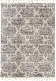 VERSAY FRINGES Shaggy Area Rug Moroccan Trellis Grey