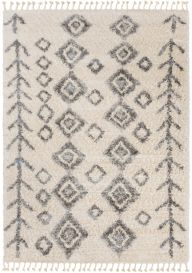 VERSAY FRINGES Shaggy Area Rug Aztec Ethno Arrows Cream