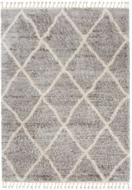 VERSAY FRINGES Shaggy Area Rug Diamond Lines Boho Dark Grey