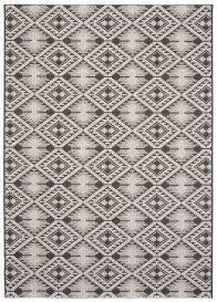 FLOORLUX Tapis Moderne Gris Argent Noir Aztèque Résistant Fin