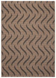 FLOORLUX Sisal Area Rug Waves Brown Black Abstract Dining Kitchen