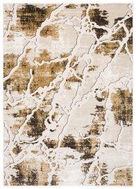 TANGO Teppich Modern Kurzflor Braun Gold Creme Abstrakt Muster