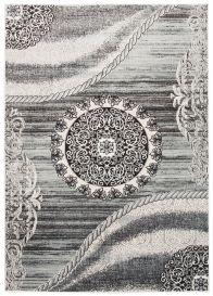 TANGO Teppich Modern Kurzflor Grau Beige Floral Kreis Ornament