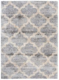VERSAY Shaggy Trellis Area Rug Moroccan Grey Cream Durable