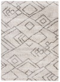 VERSAY Area Rug Shaggy Ethno Pattern Light Grey Durable Carpet