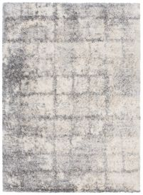 VERSAY Shaggy Area Rug Modern Checkered Pattern Cream Durable