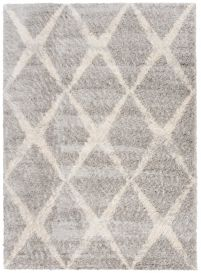 VERSAY Shaggy Area Rug Modern Boho Diamond Grey Cream Durable