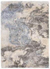 VERSAY Designer Shaggy Area Rug Modern Abstract Grey Blue