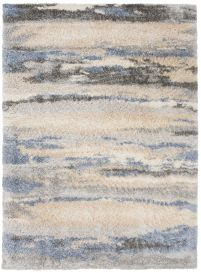 VERSAY Shaggy Area Rug Abstract Lines Cream Blue Durable Carpet