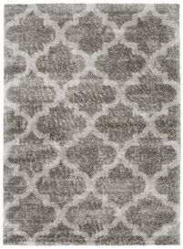 VERSAY Shaggy Trellis Area Rug Moroccan Dark Grey Durable