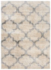 VERSAY Shaggy Trellis Area Rug Moroccan Cream Grey Durable