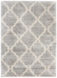VERSAY Shaggy Area Rug Moroccan Trellis Grey Cream Durable