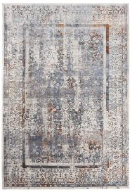 FEYRUZ 3D Area Rug Transitional Vintage Bedroom Frame Grey