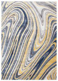 SHINE Tapis Moderne Abstrait Ondes Vagues Bleu Crème Or Gris Doux
