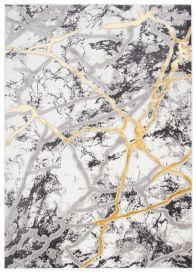 SHINE Tapis Moderne Abstrait Marbré Taches Or Anthracite Crème Doux