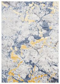 SHINE Tapis Moderne Abstrait Marbré Taches Bleu Or Gris Crème Doux