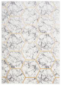 SHINE Tapis Moderne Géométrique Hexagone Marbre Or Crème Gris Doux