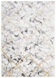 SHINE Teppich Kurzflor Modern Geometrisch Grau Golden Linien Design