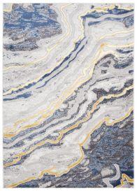 SHINE Tapis Moderne Abstrait Marbré Taches Or Bleu Anthracite Doux