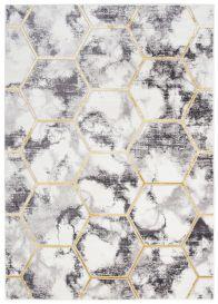 SHINE Tapis Moderne Géométrique Hexagone Taches Crème Or Gris Doux