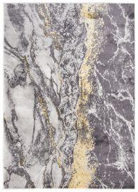 SHINE Teppich Kurzflor Modern Dunkelgrau Golden Meliert Marmor