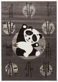 FIESTA Tapis Chambre Enfant Gris Foncé Blanc Noir Panda Moelleux