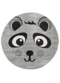 HAPPY Rund Teppich Kinderteppich Kurzflor Grau Schwarz Creme Panda