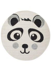 HAPPY Rund Teppich Kinderteppich Kurzflor Grau Schwarz Weiß Panda
