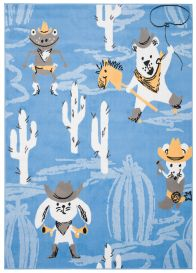 JOLLY Teppich Kurzflor Kinderteppich Spielmatte Blau Grau Western