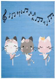 JOLLY Teppich Kurzflor Kinderteppich Spielmatte Blau Grau Rosa Katzen